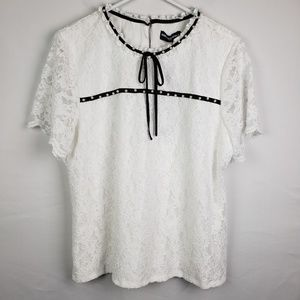 Karl Lagerfeld Top Pearls Lace #156